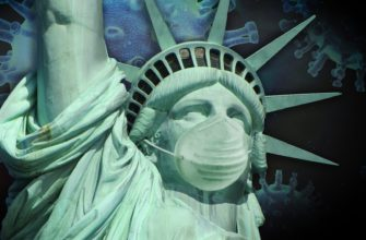 статуя свободы в маске из-за коронавируса в мире